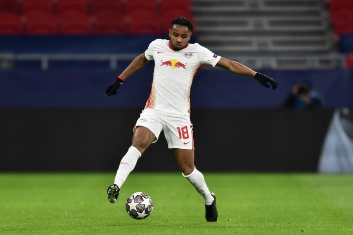 Nkunku, premier joueur du RB Leipzig à inscrire un triplé en Ligue des champions. afp