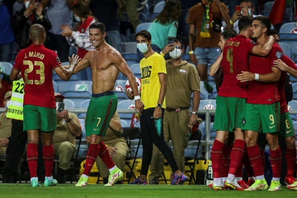 Cristiano Ronaldo (2L) has left the Portugal squad. AFP