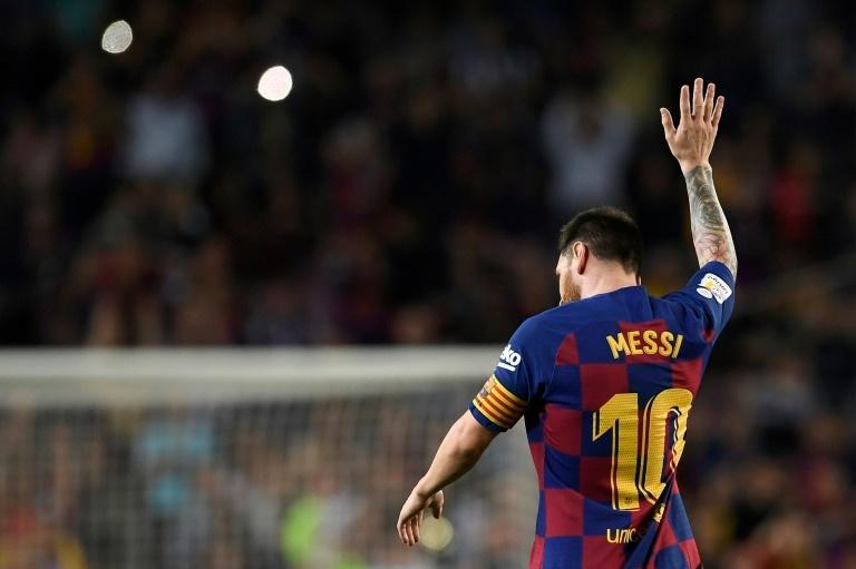 Messi celebra su gol ante el Sevilla.