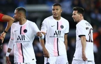 O tridente do PSG está de volta e enfrentará o Olympique Lyonnais. AFP