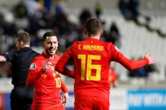 A imprensa belga exaltou o alto nível de Hazard na Seleção. AFP