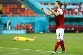 Sabitzer perderá as três partidas de classificação da Áustria. AFP