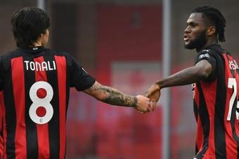 Il primo gol di Tonali in Serie A. AFP