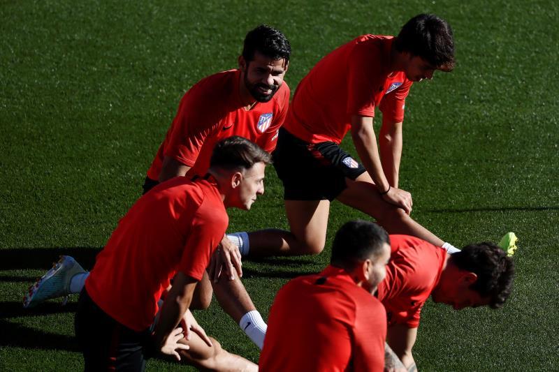 El Atlético, durante un entrenamiento