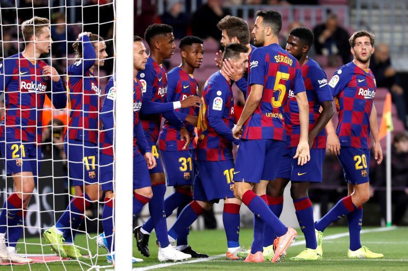 Leo Messi celebra uno de sus tantos al Celta