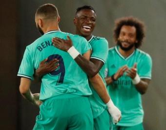 Benzema-Vinicius: uma dupla que vai encantando a Europa. AFP