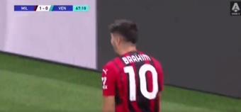 Brahim, imparable: volvió a marcar con el Milan a pase de Theo. Captura/MovistarLigadeCampeones