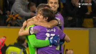El Tottenham se impuso a los Wolves en penaltis. Captura/SpursTV