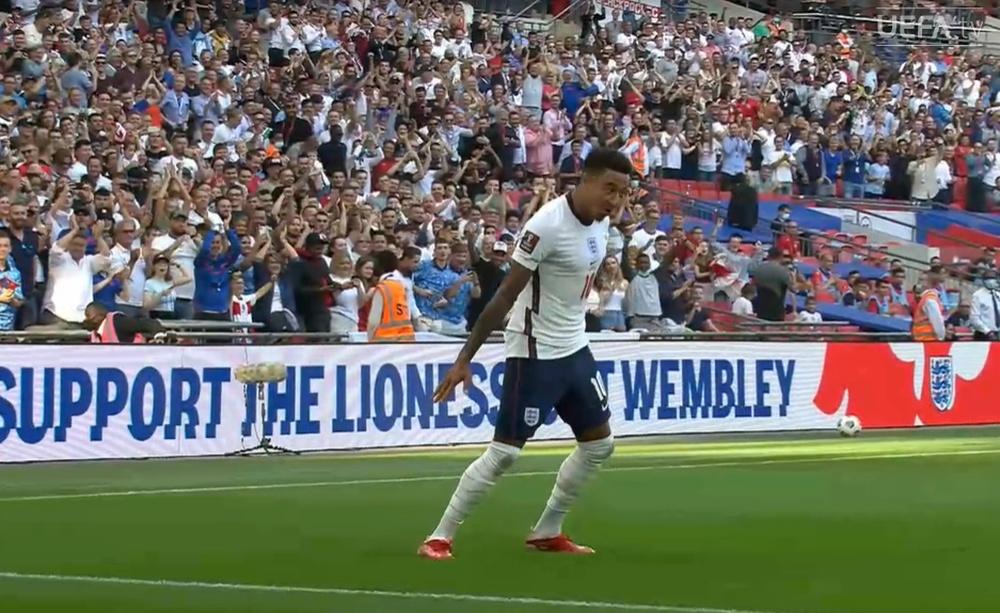 Lingard gave England the lead and celebrated CR7-style. Screenshot/UEFATV