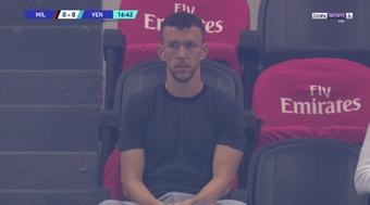 Perisic was watching AC Milan at the San Siro. Screenshot/beINSports
