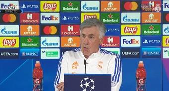 Carlo Ancelotti falou em coletiva de imprensa. Captura/RealMadridTV