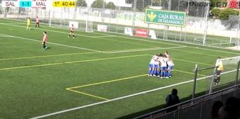 El Málaga remontó el encuentro en apenas tres minutos. Captura/CDSalamancaFF
