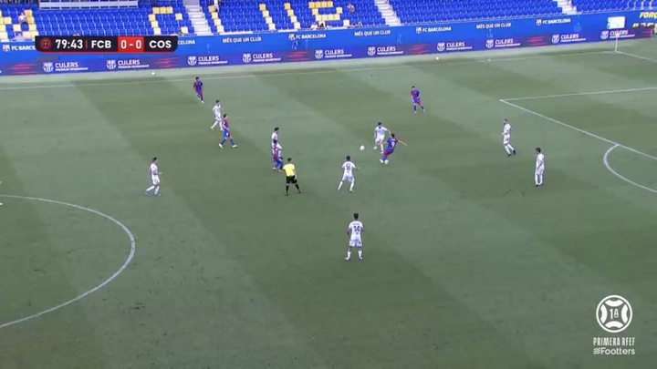 No hubo goles entre Barça B y Costa Brava. Captura/Footters
