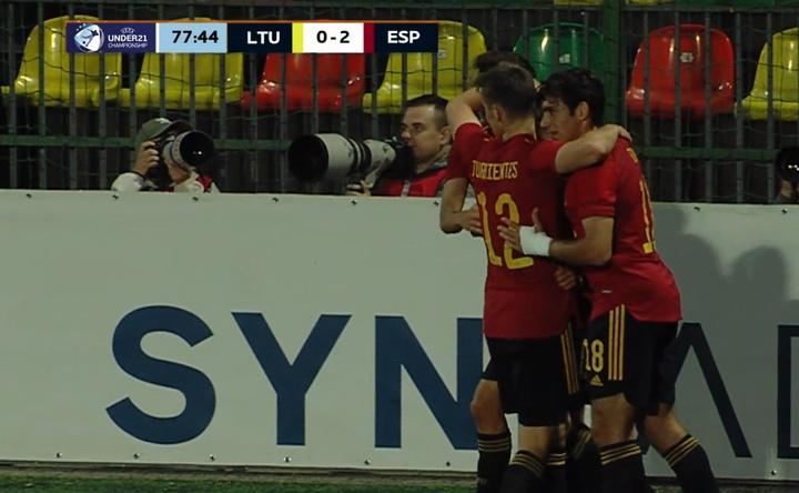 Yéremy Pino anotó el 0-2 para España. Youtube/LietuvosFutbolas