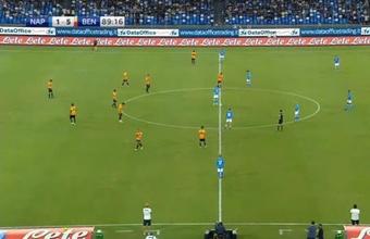 El Nápoles cayó ante el Benevento con contundencia. Captura/SkySport