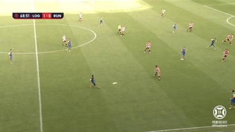 El Logroñés consiguió su tercera victoria consecutiva ante el Real Unión. Captura/Footters