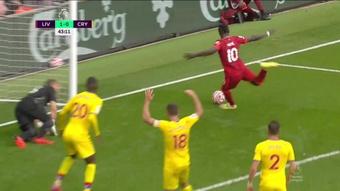 Sadio Mané ha marcado en sus últimos nueve duelos con el Crystal Palace. Captura/DAZN