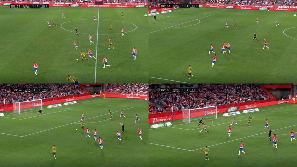 Canales fue el héroe tras su golazo al Granada. YouTube/LaLiga