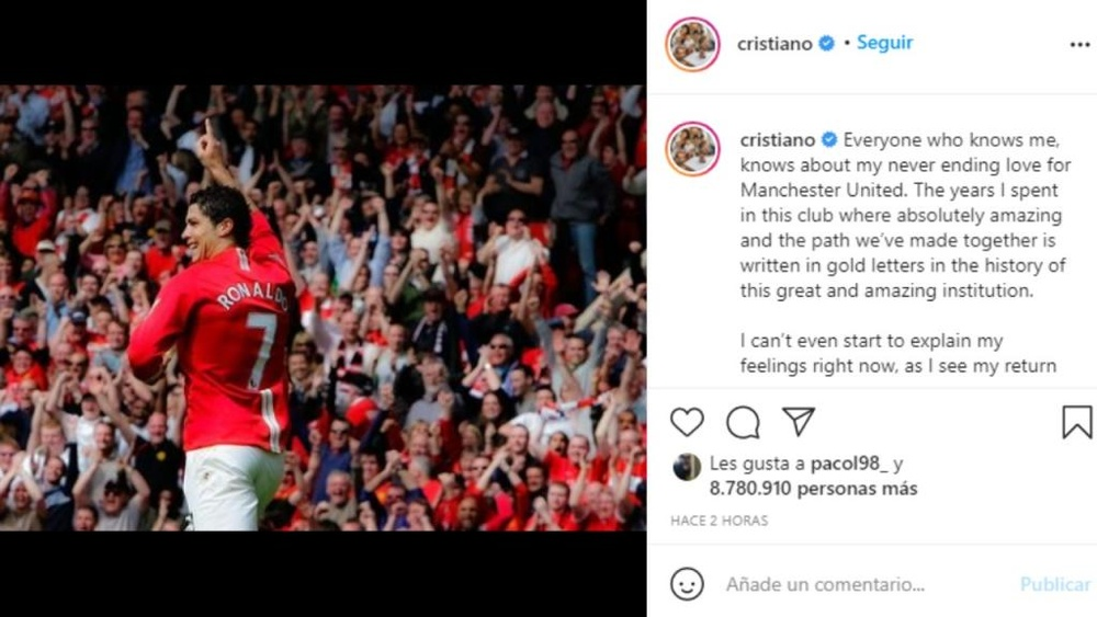 Cristiano Ronaldo wrote a message on social media. Instagram/Cristiano