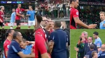 El 'bullying' de Ibrahimovic a Lucas Leiva que le costó la roja a Sarri. Capturas/BTSport