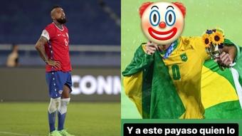 A polêmica entre Vidal e Richarlison após o jogo. EFE/Instagram/kingarturo23oficial