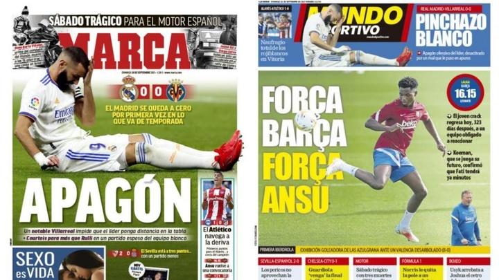 Portadas de la prensa deportiva del 26-09-21. Marca/MD
