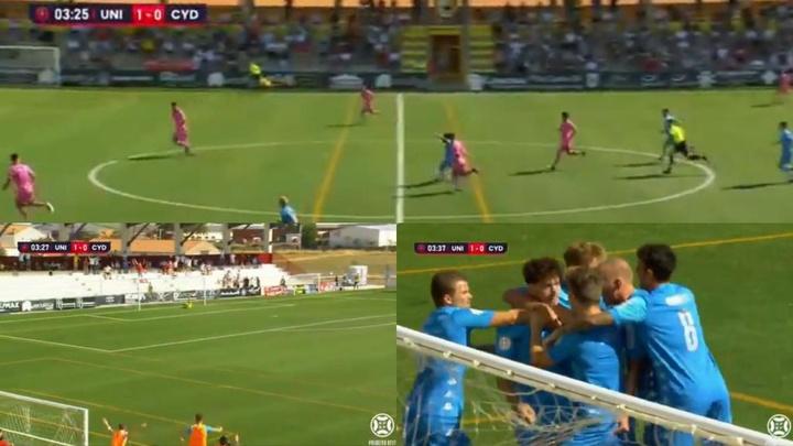 Aarón Piñán batió al portero de Unionistas con un golazo desde lejos. Twitter/Primera_RFEF