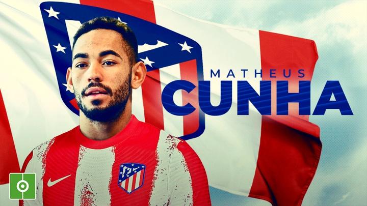 Matheus Cunha foi anunciado pelo Atlético de Madrid. BeSoccer