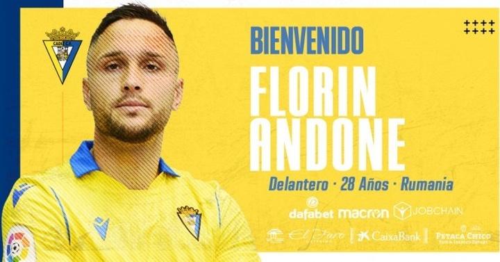 Florin Adone, nuevo jugador del Cádiz. Twitter/Cadiz_CF