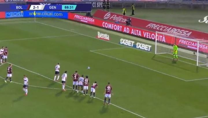 Criscito hizo el empate definitivo desde el punto de penalti. Captura/DAZN