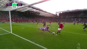 Cristiano Ronaldo put Man Utd ahead right on half-time. Screenshot/DAZN