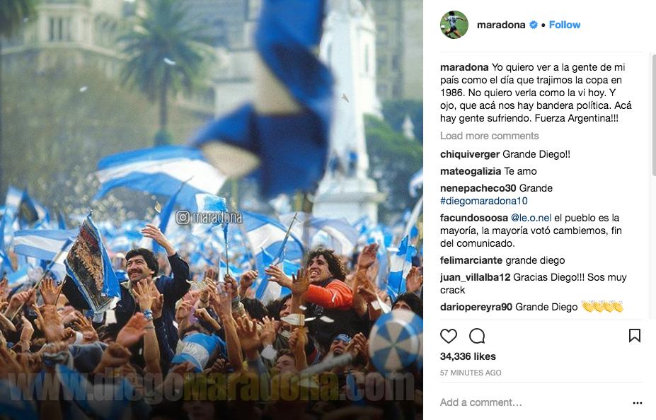 Maradona lamentó los incidentes de ayer cerca del Congreso