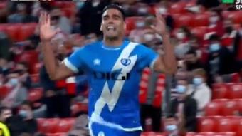 Falcao dio la victoria al Rayo ante el Athletic. Captura/DirecTV