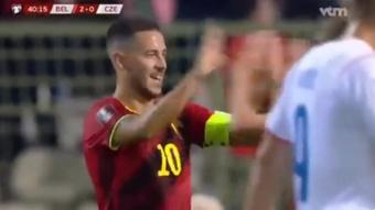 Eden Hazard hizo el 1-0 contra República Checa. Captura/VCM