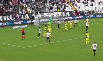 Gyasi puso el 1-1 ante la Juventus. Captura/Vamos