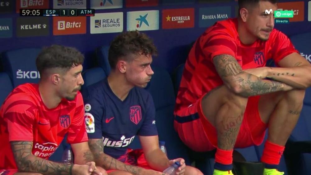 Retour timide pour Griezmann avec l'Atlético. Capture/MovistarLaLiga