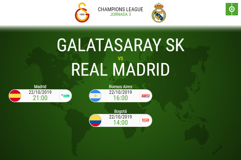 Real Madrid y Galatasaray se enfrentan en la jornada 3 de la Champions League.