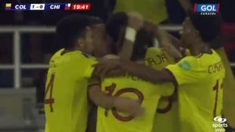 Miguel Borja ajustició a Chile con dos goles. Captura/Twitter/FCFSeleccionCol
