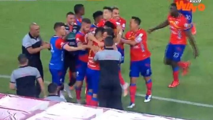 Nacional y Deportivo Pasto empataron a uno. Captura/WinSportsTV