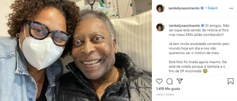 Pelé sai da UTI após melhora em quadro. Instagram/iamkelynascimento