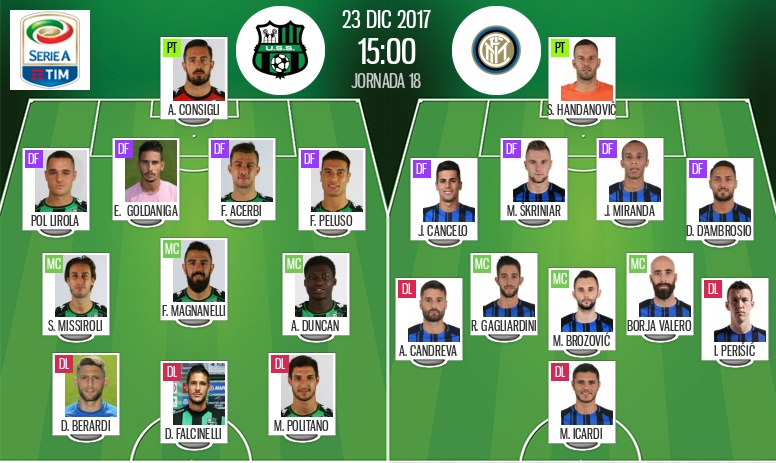 Pin	 Les compos officielles du match de Serie A entre Sassuolo et l'Inter. Be Soccer							Whatsapp			Twitter			Facebook			Commentaires 0