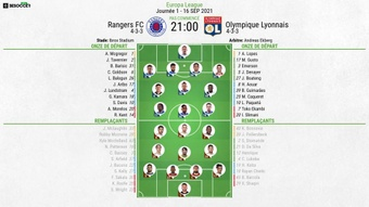 Compos officielles : Rangers-Olympique Lyonnais. BeSoccer