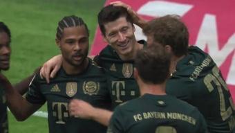Lewandowski marcó el quinto gol. Captura/#Vamos