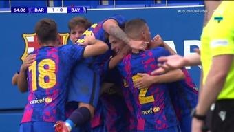 El Barça se impuso 2-0 al Bayern en la Youth League. Captura/Vamos