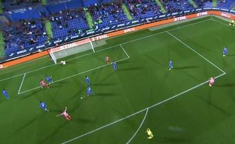 Suárez puso el 1-2 en el minuto 91. Captura/MovistarLaLiga