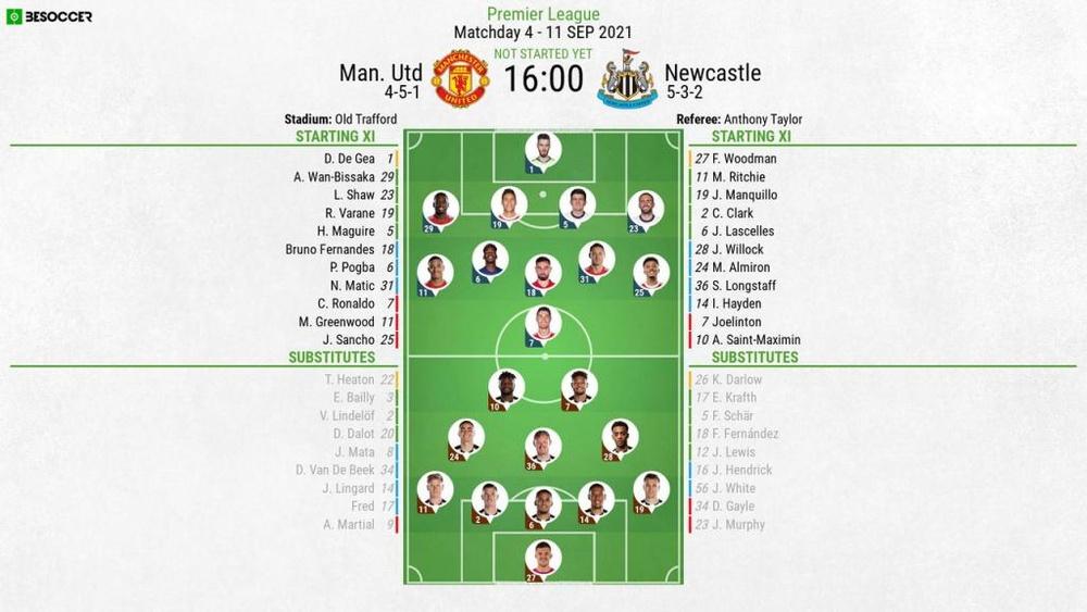 Man Utd v Newcastle, Premier League 2021/22, matchday 4, 11/9/2021 - Official line-ups. BeSoccer