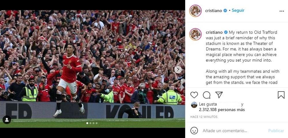 Cristiano Ronaldo was delighted to return to Man Utd. Instagram/cristiano