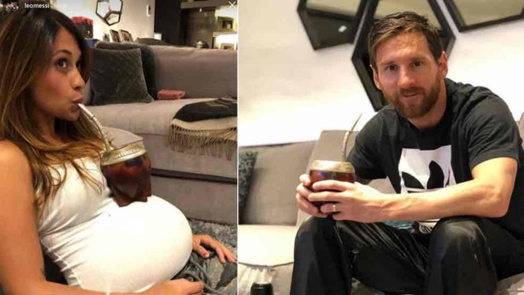 Una foto de hogar argento: Messi en pantuflas y Antonela Roccuzzo mateando