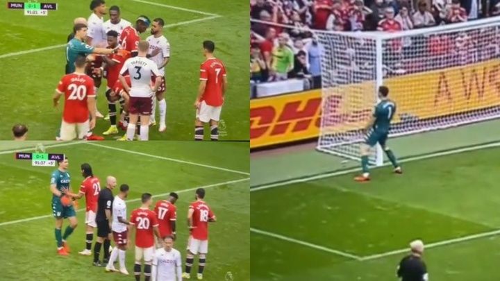 Emiliano Martinez went crazy during a last minute penalty against United. Screenshot/DAZN