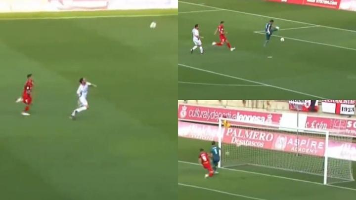 Rubén Sánchez anotó el primer gol de la Primera RFEF. Captura/Footters